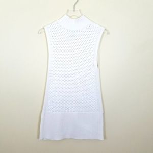 WHBM Sleeveless White Sweater Vest Knitted Tunic S